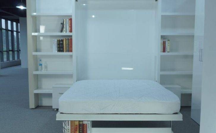 Modern Wall Bed Hotel Ikea King Glossy White