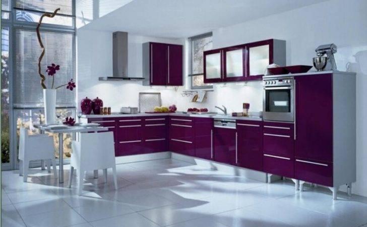 Modern White Wall Purple Modular Kitchen Design Daily Source