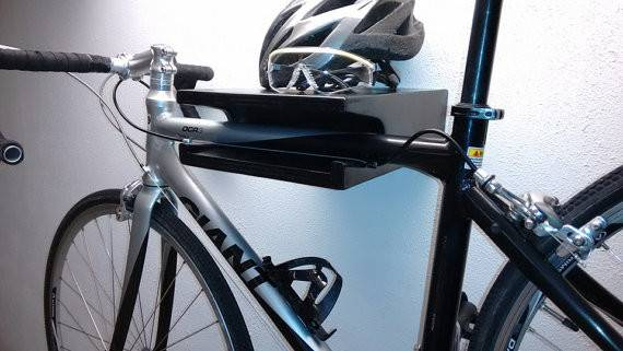 Modern Wood Bike Rack Display Wall Mount Shelf