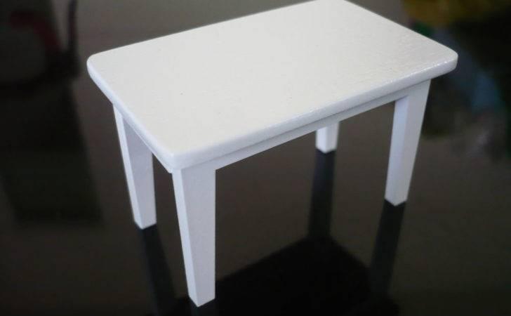 Modern Wooden White Table Deck Doll House Miniature Furniture Ebay