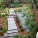 Moderne Landschaft Kleingarten Holz Gartenweg
