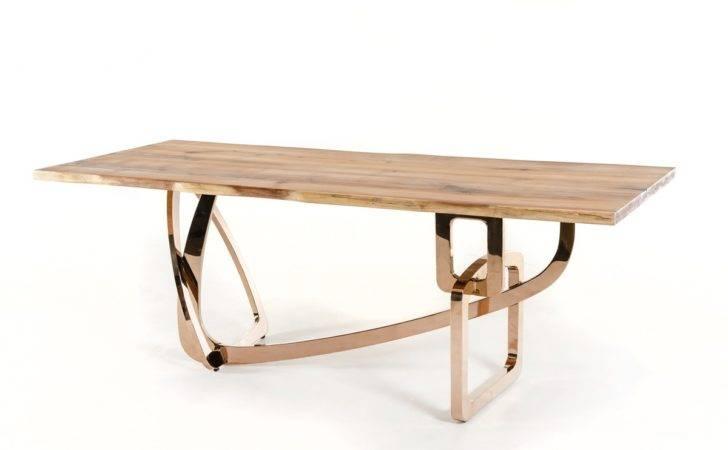 Modrest Auburn Modern Live Edge Wood Rosegold Dining Table