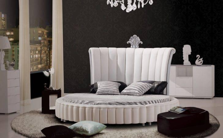 Modrest Modern White Bonded Leather Round Bed