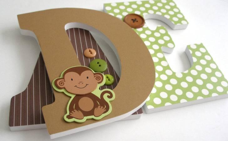 Monkey Custom Wooden Letters Personalized Nursery Name Cor