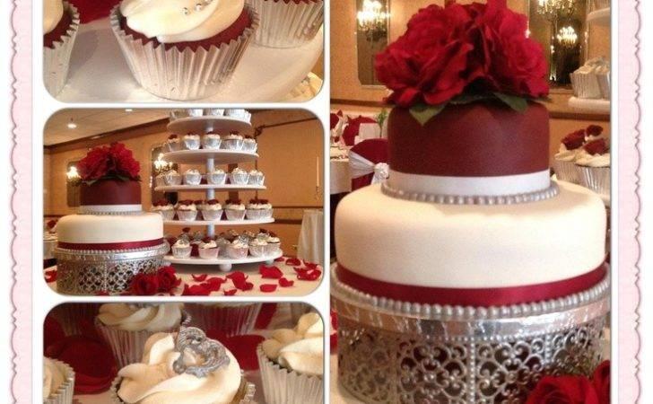 More Wedding Silver Cake Flower Burgundy