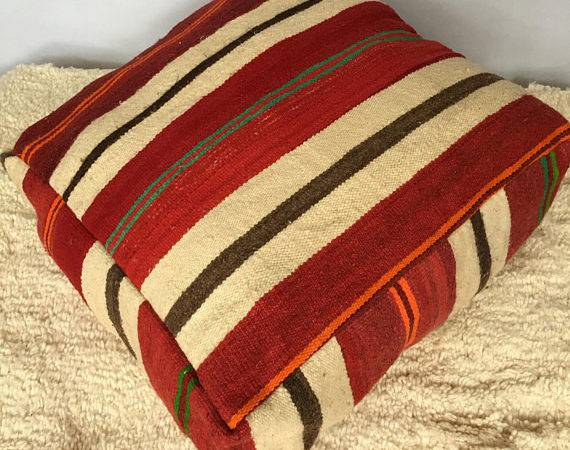 Moroccan Kilim Pouffe Floor Cushions Cover