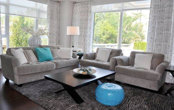 Moroccan Pouf Turquoise Accents Shine Gray Living Room
