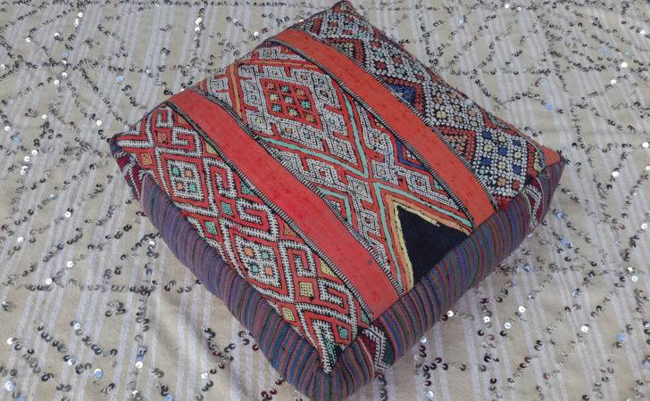 Moroccan Vintage Floor Cushions Made Hand Moroccantribal
