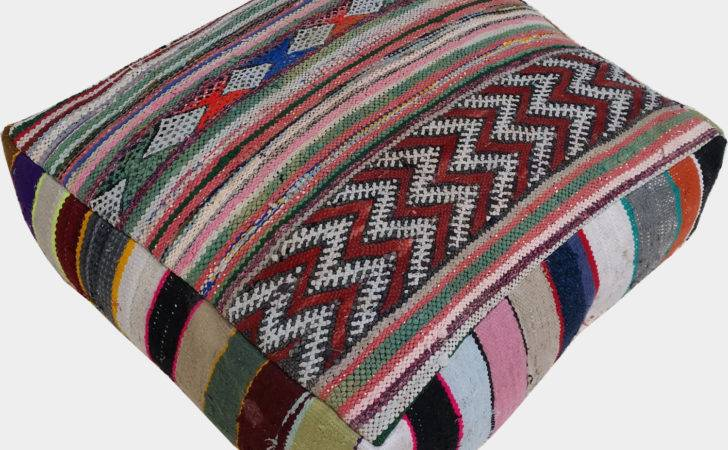 Moroccan Vintage Floor Cushions Made Hand Woven Kilim