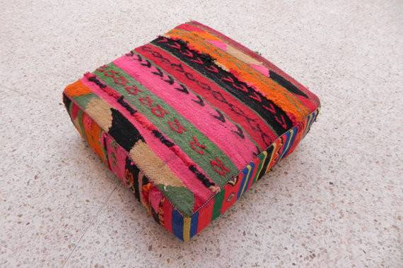 Moroccan Vintage Wool Cotton Floor Cushions Moroccantribal