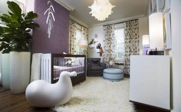 Mostly White Nursery Featuring Fur Rug Over Dark Hardwood Flooring