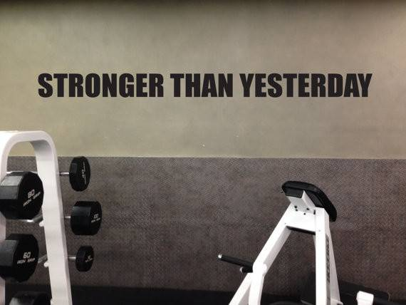 Motivational Fitness Gym Wall Decal Stronger Than Yesterday