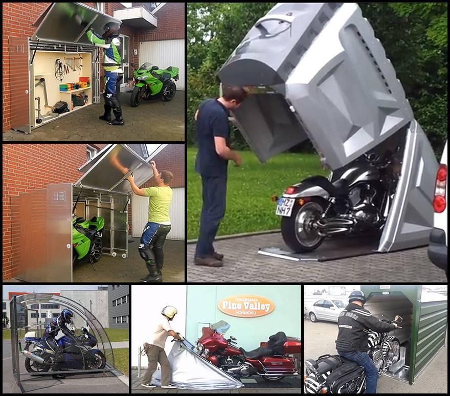 Motorcycle Storage Designs Around World Part Shelters