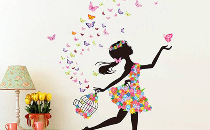 Mural Pvc Girl Butterfly Bedroom Room Wall Sticker Home Decor