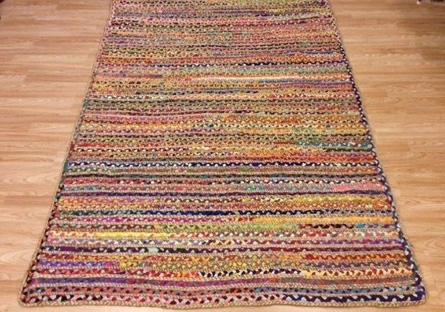 Natural Jute Recycled Cotton Multi Colour Braided Reversible Rug