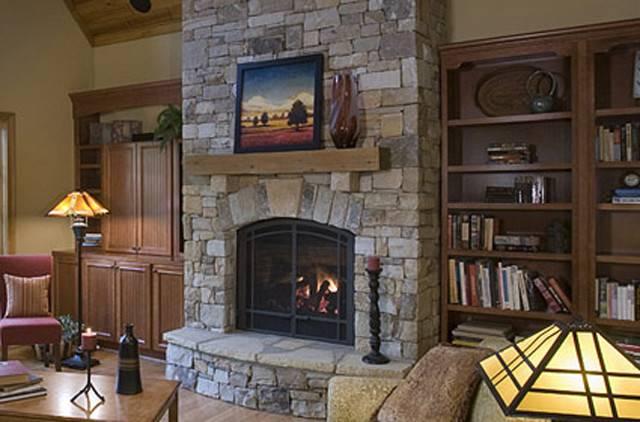 Natural Stone Corner Fireplace Design Idea Ancient Style