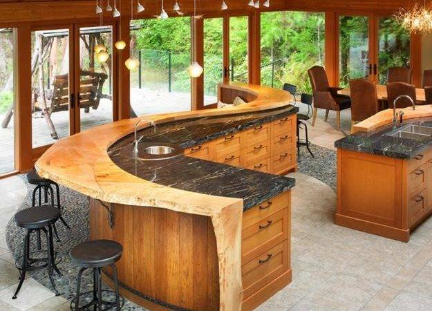 Natural Stone Rustic Wood Kitchen Countertop Ideas