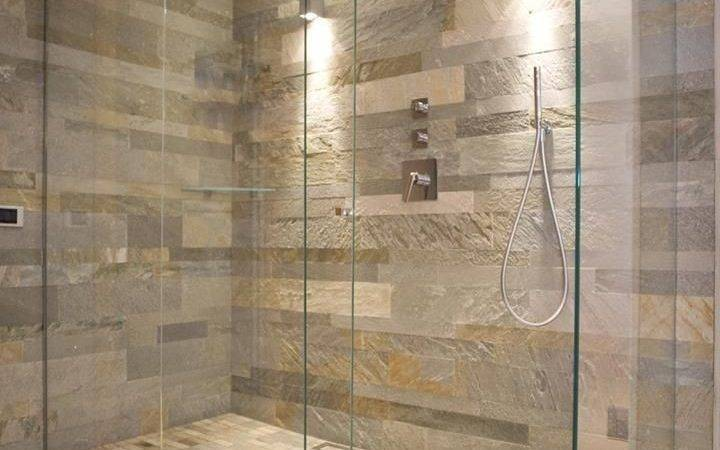 Natural Stone Wall Glass Shower Enclosure General Idea Nice