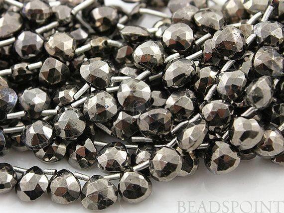Natural Treatment Pyrite Gunmetal Colored Metallic Stone Sma