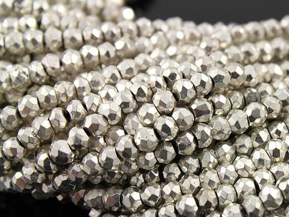 Natural Treatment Pyrite Silver Colored Metallic Stone Micro
