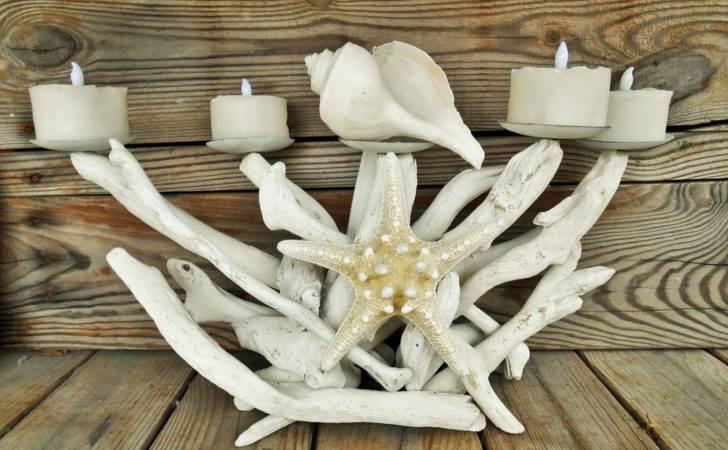 Nautical Driftwood Starfish Candelabra Searchnrescue Etsy