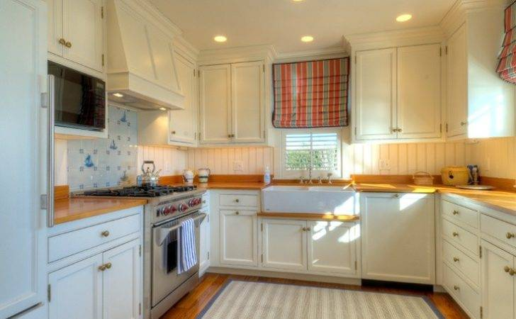 Nautical Kitchen Small Floorplan Cabinetry Butcher Block