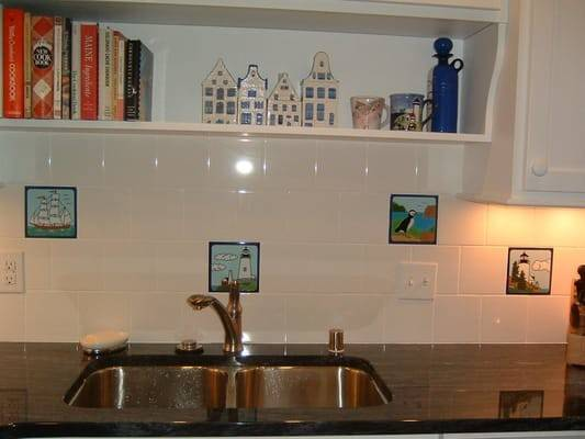 Nautical Tile Backsplash Installation Using Hand Painted Besheer Art