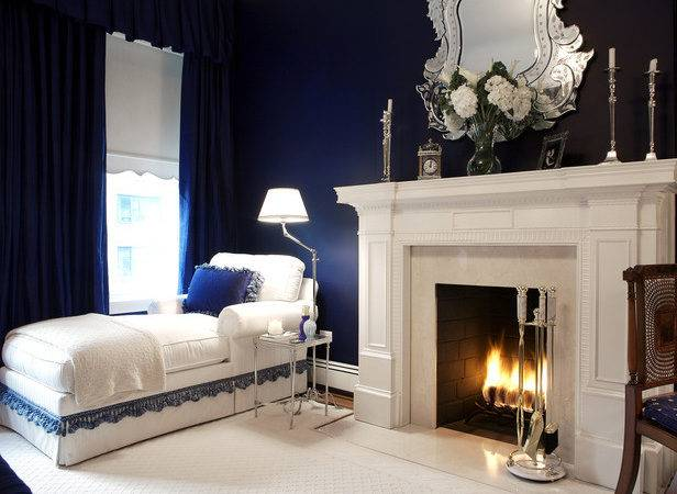Navy Blue Bedroom White Fireplace Chaise Lounge Hgtv