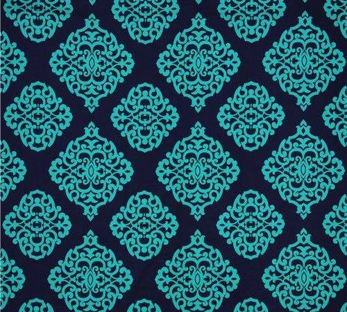 Navy Blue Sultana Michael Miller Ornament Fabric Teal