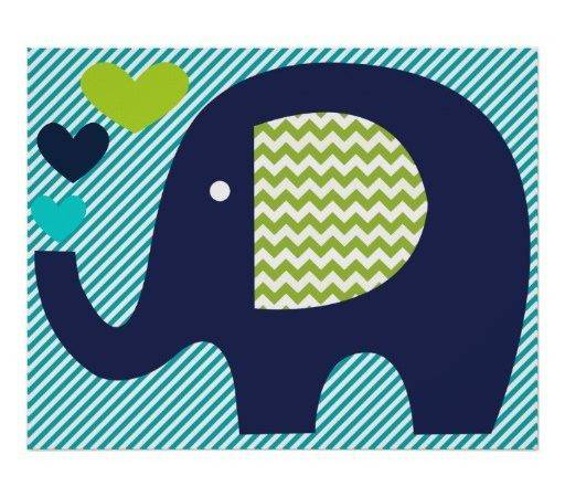 Navy Teal Elephant Nursery Poster Zazzle