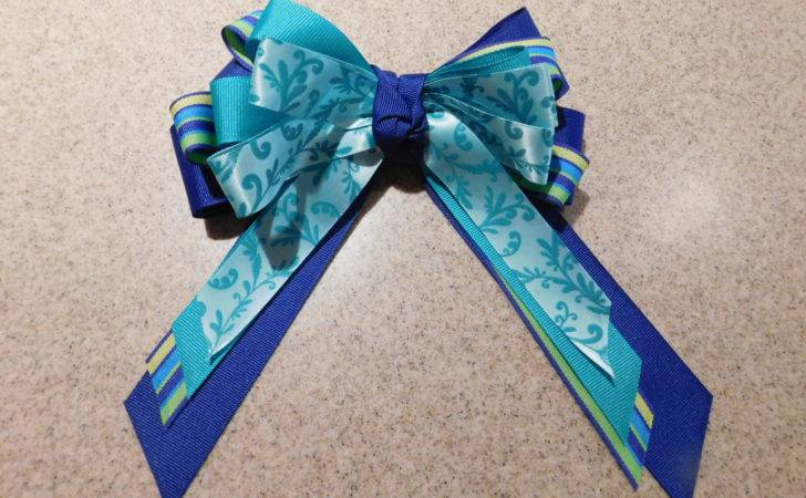 Navy Teal Filigree Patterned Hairbow