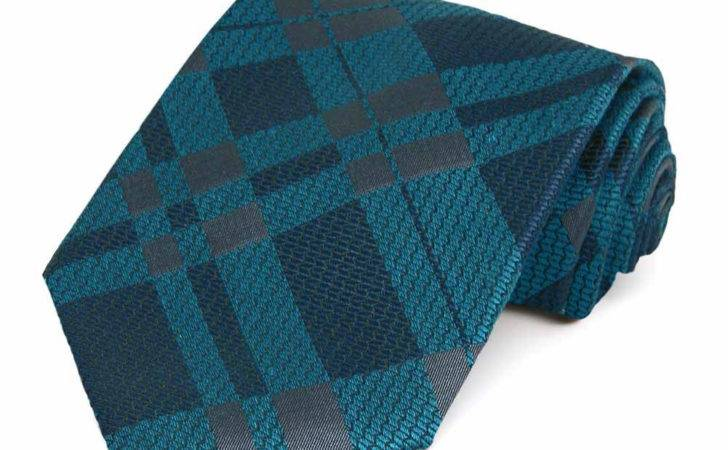 Navy Teal Plaid Cotton Necktie