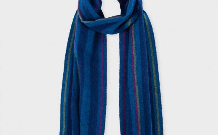 Navy Teal Stripe Wool Scarf Blue Men Lyst