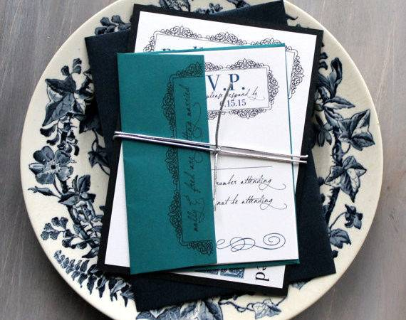 Navy Teal Wedding Invitation Blue