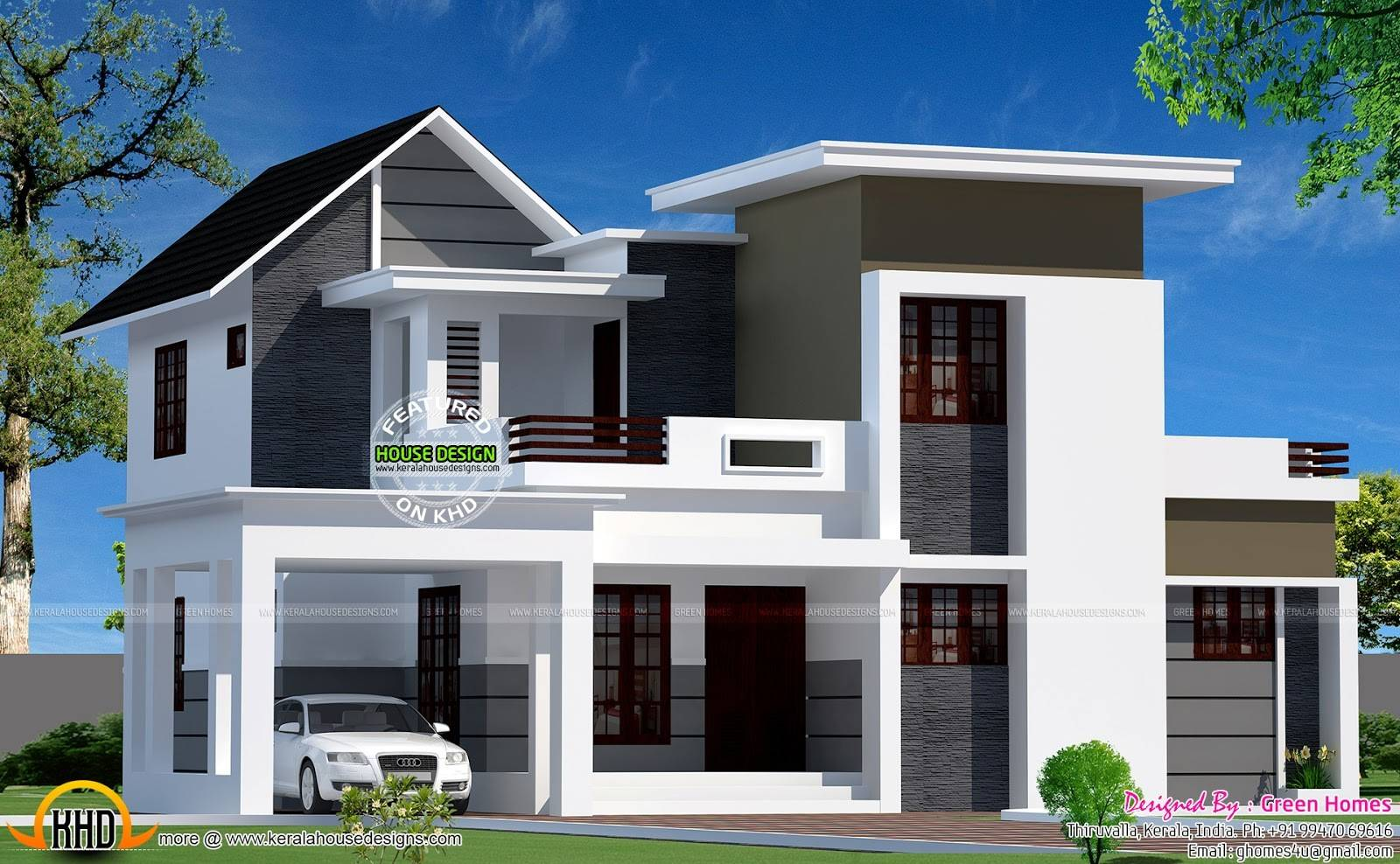 Neat Looking Mixed Roof Home Kerala Design Floor Plans