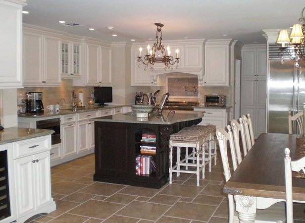 Neutral Traditional Kitchen Black Island White Cabinetry