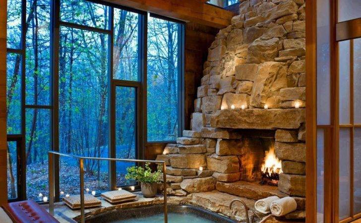 Never Knew Needed Indoor Hot Tub Fireplace Until Right Now