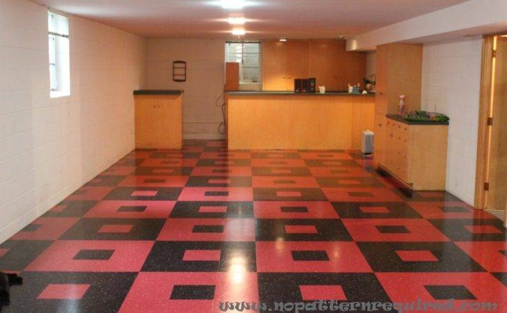 New Basement Floor Red Black Retro Vct Tile Pattern