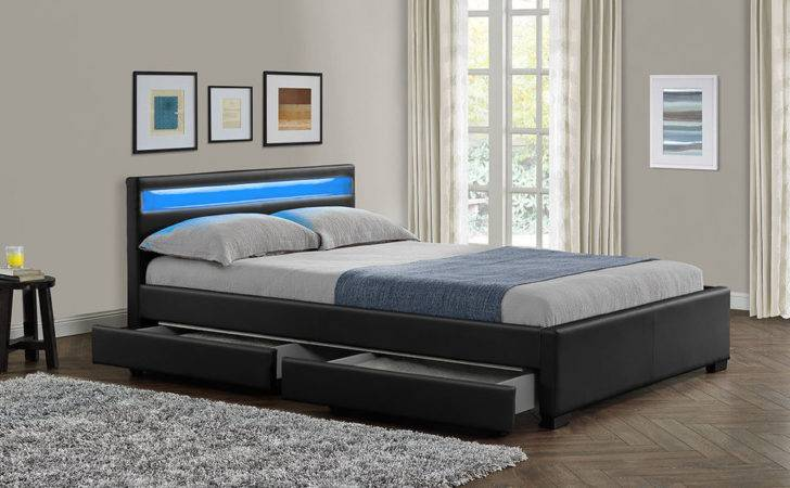 New Double King Bed Frame Led Headboard Night Light Storage
