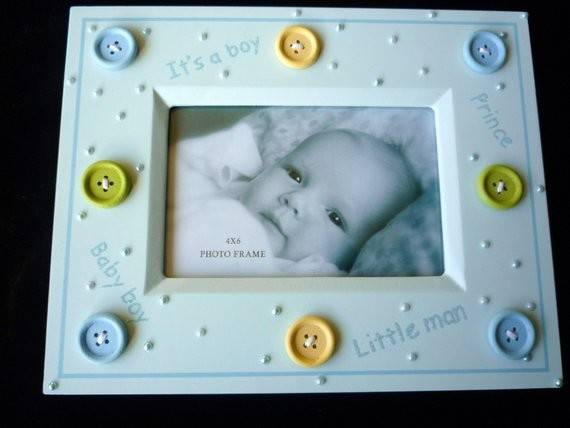 New Keepsake Frame Cute Button Baby Boy