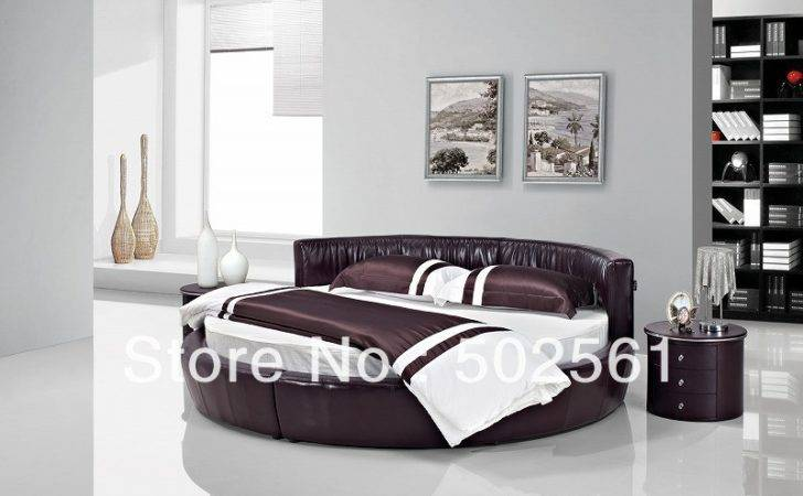 New Modern Genuine Leather Round Bed Include Salt Bedroom Furniture