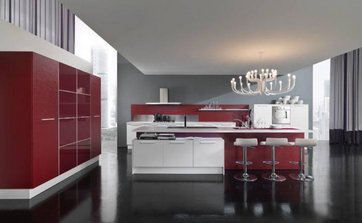 New Modern Kitchen Design Red White Cabinets Ego