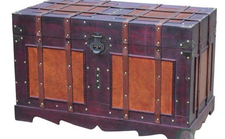 New Vintiquewise Antique Style Steamer Trunk Ebay