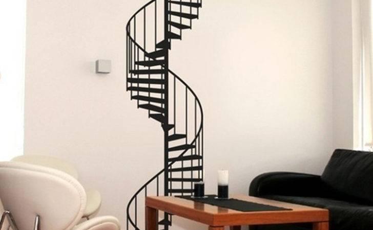 New Vinyl Spiral Staircase Wall Sticker Decals Modern