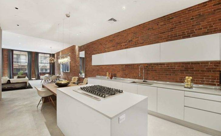 New York Loft White Modern Sleek Open Kitchen Cococozy Exposed Brick