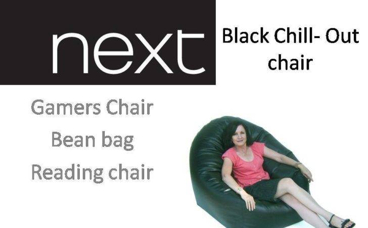 Next Black Faux Leather Chill Out Chair Gamers Bean Bag Cover