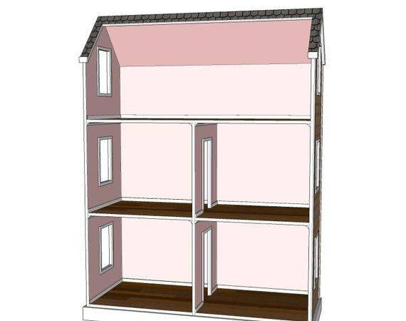 Nice Layout Like Cut Out Roof Doll House Plans Room Attic