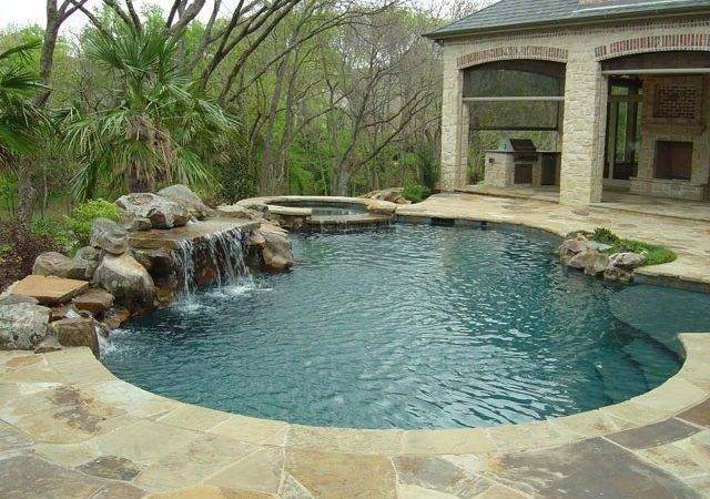 Nice Little Pool Rock Waterfall Awesome Inground Designs