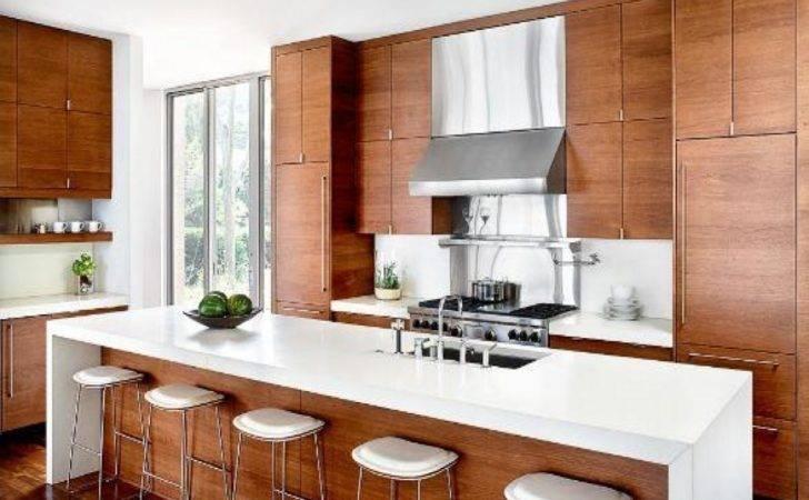 Nice Modern White Kitchen Idea Light Brown Wood Storage