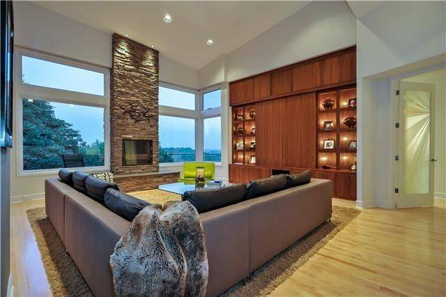 Nice Wide Open Room Stone Fireplace Hardwood Floors Living